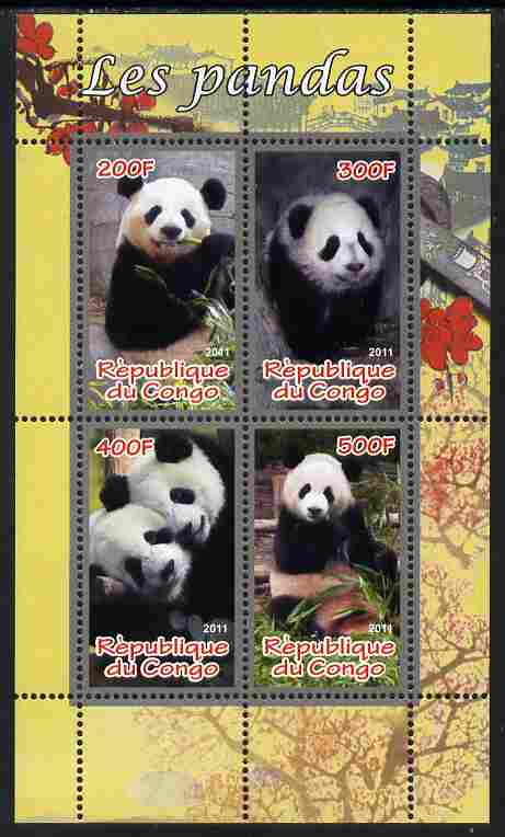 Congo 2011 Pandas perf sheetlet containing 4 values unmounted mint