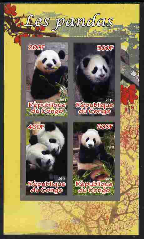 Congo 2011 Pandas imperf sheetlet containing 4 values unmounted mint