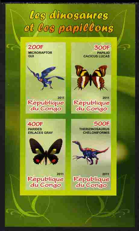 Congo 2011 Butterflies & Dinosaurs #1 imperf sheetlet containing 4 values unmounted mint