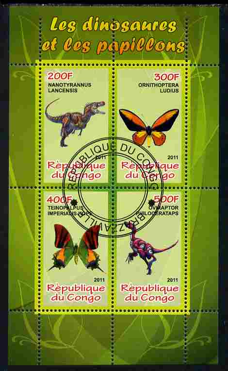 Congo 2011 Butterflies & Dinosaurs #3 perf sheetlet containing 4 values cto used, stamps on butterflies, stamps on dinosaurs
