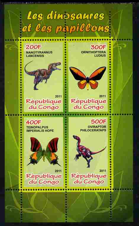 Congo 2011 Butterflies & Dinosaurs #3 perf sheetlet containing 4 values unmounted mint