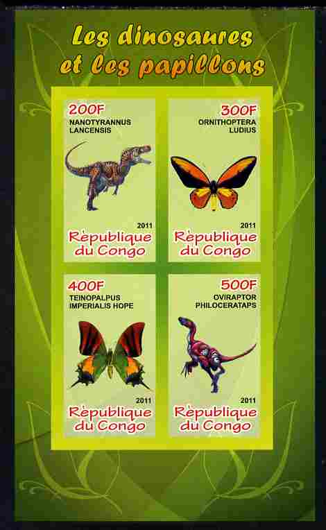 Congo 2011 Butterflies & Dinosaurs #3 imperf sheetlet containing 4 values unmounted mint