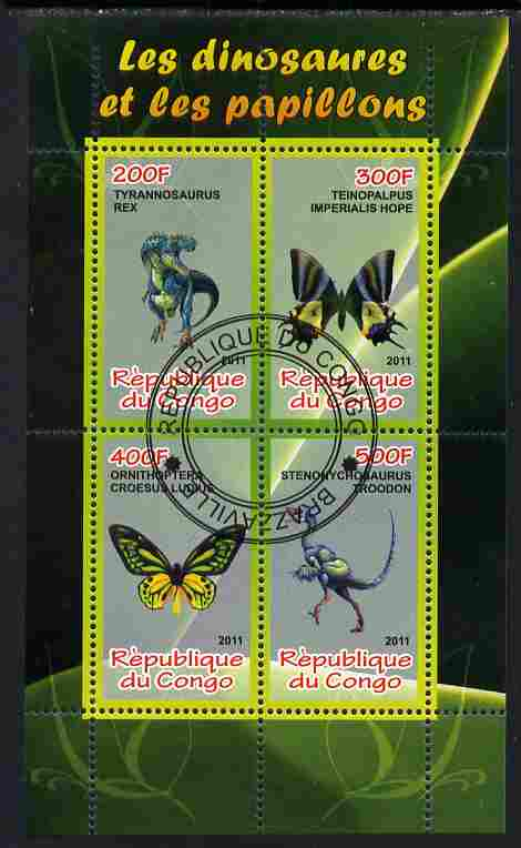 Congo 2011 Butterflies & Dinosaurs #4 perf sheetlet containing 4 values cto used