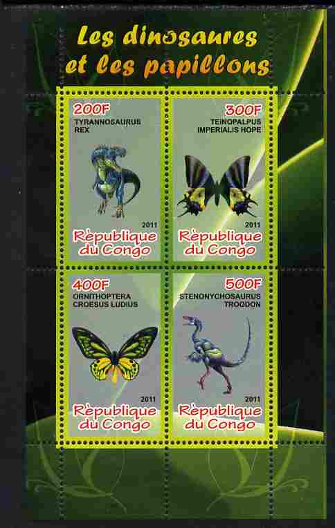 Congo 2011 Butterflies & Dinosaurs #4 perf sheetlet containing 4 values unmounted mint