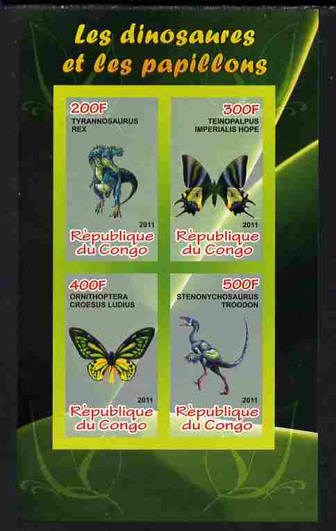 Congo 2011 Butterflies & Dinosaurs #4 imperf sheetlet containing 4 values unmounted mint
