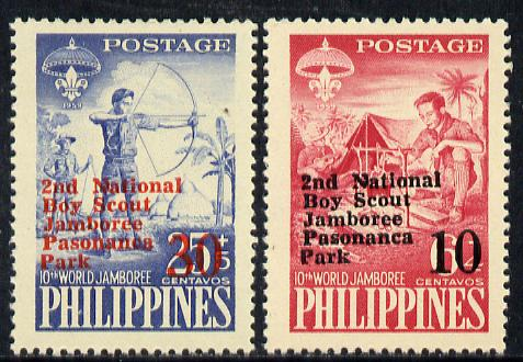 Philippines 1961 2nd Scout Jamboree opt set of 2 on yellow paper, SG 870 & 872 unmounted mint*