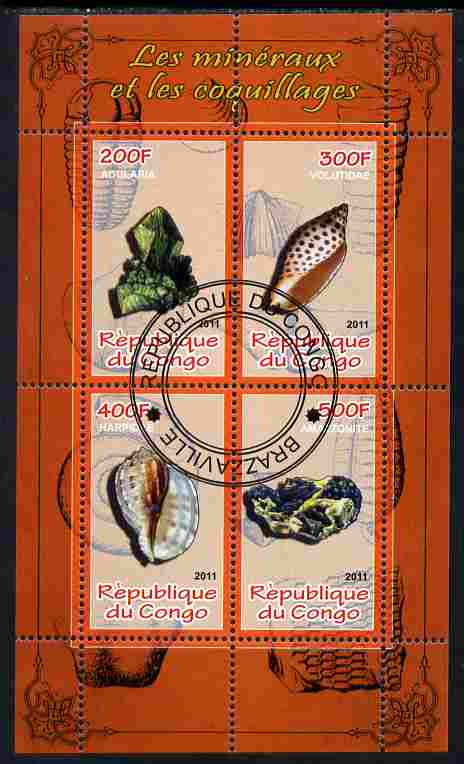 Congo 2011 Minerals & Sea Shells #1 perf sheetlet containing 4 values cto used
