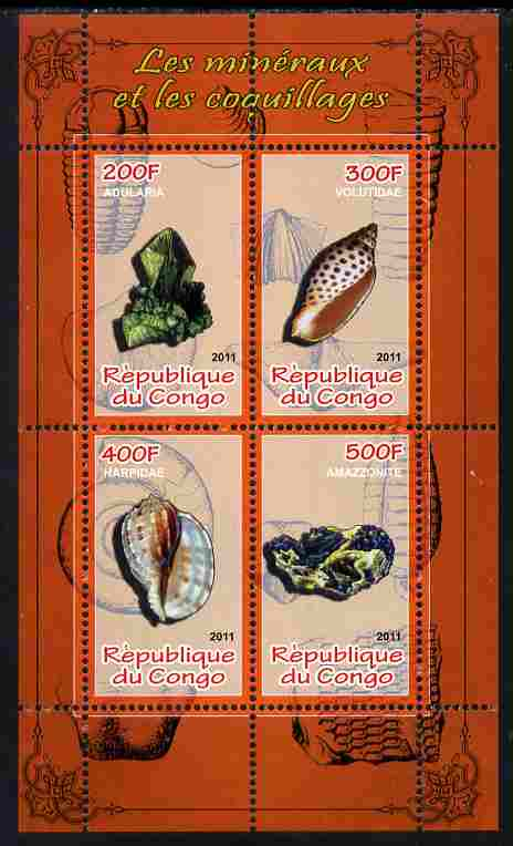 Congo 2011 Minerals & Sea Shells #1 perf sheetlet containing 4 values unmounted mint