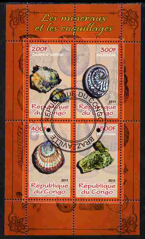 Congo 2011 Minerals & Sea Shells #2 perf sheetlet containing 4 values cto used