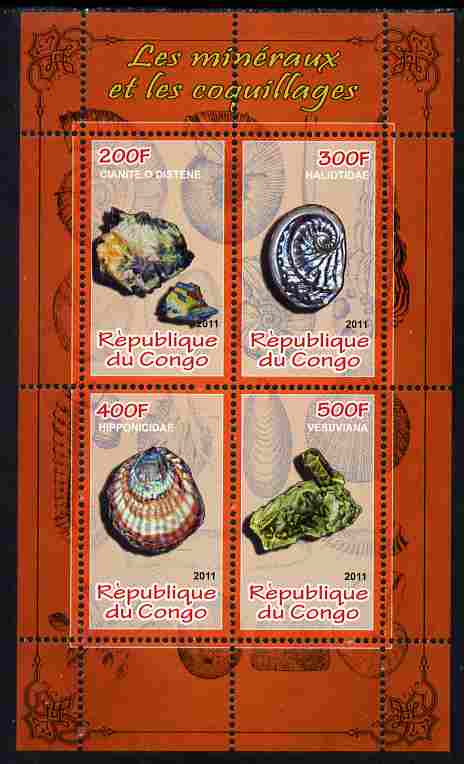 Congo 2011 Minerals & Sea Shells #2 perf sheetlet containing 4 values unmounted mint