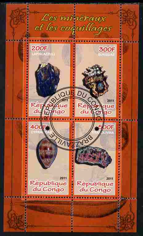 Congo 2011 Minerals & Sea Shells #3 perf sheetlet containing 4 values cto used
