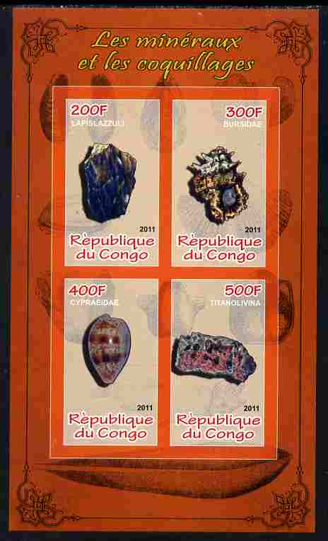 Congo 2011 Minerals & Sea Shells #3 imperf sheetlet containing 4 values unmounted mint