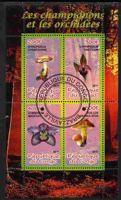 Congo 2011 Mushrooms & Orchids #1 perf sheetlet containing 4 values cto used