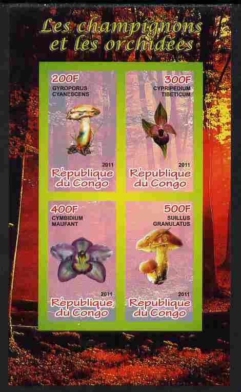 Congo 2011 Mushrooms & Orchids #1 imperf sheetlet containing 4 values unmounted mint