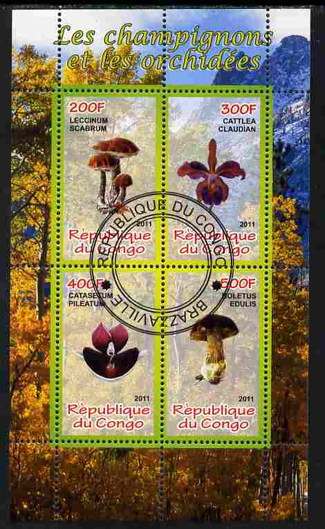 Congo 2011 Mushrooms & Orchids #2 perf sheetlet containing 4 values cto used