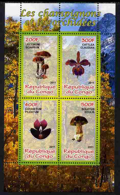 Congo 2011 Mushrooms & Orchids #2 perf sheetlet containing 4 values unmounted mint