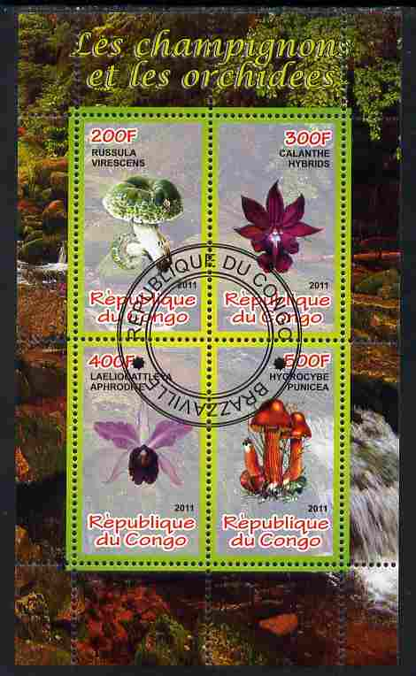Congo 2011 Mushrooms & Orchids #3 perf sheetlet containing 4 values cto used
