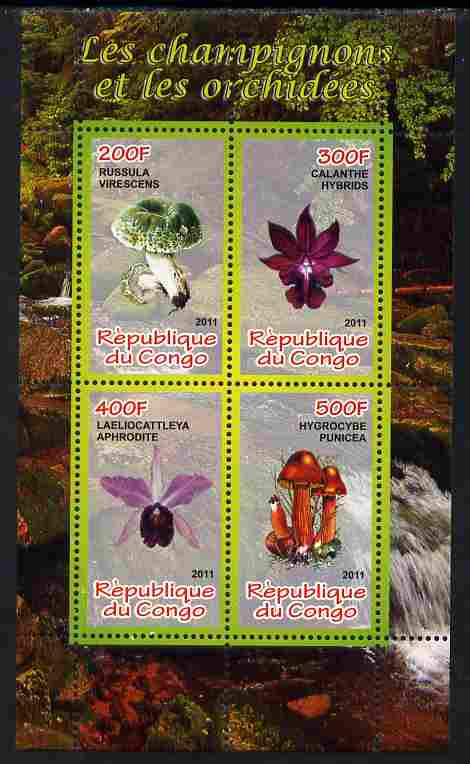 Congo 2011 Mushrooms & Orchids #3 perf sheetlet containing 4 values unmounted mint