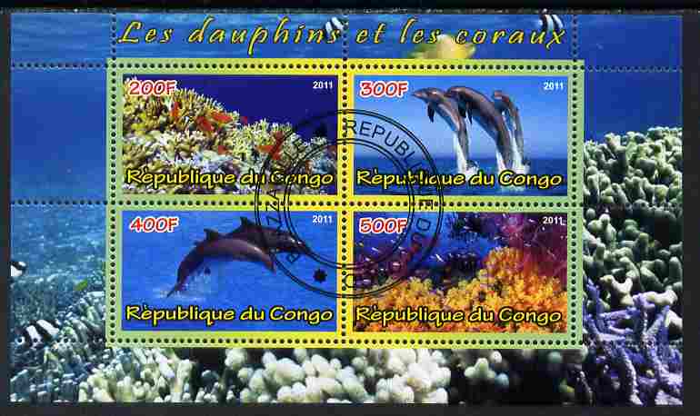 Congo 2011 Dolphins & Coral #1 perf sheetlet containing 4 values cto used