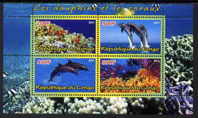 Congo 2011 Dolphins & Coral #1 perf sheetlet containing 4 values unmounted mint