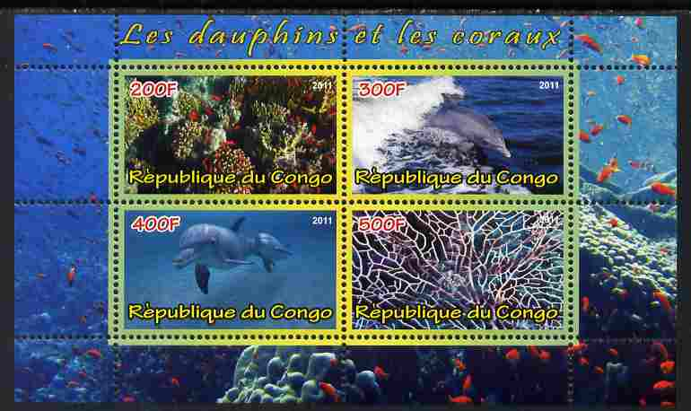 Congo 2011 Dolphins & Coral #2 perf sheetlet containing 4 values unmounted mint