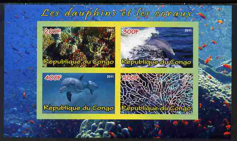 Congo 2011 Dolphins & Coral #2 imperf sheetlet containing 4 values unmounted mint