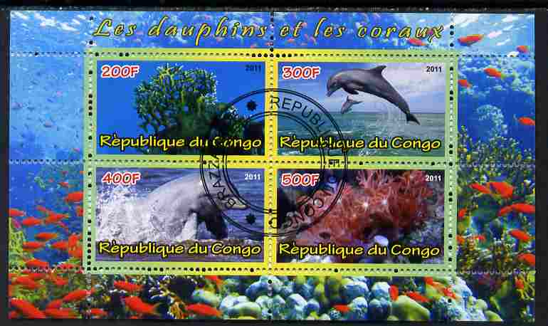 Congo 2011 Dolphins & Coral #3 perf sheetlet containing 4 values cto used