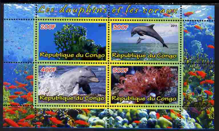 Congo 2011 Dolphins & Coral #3 perf sheetlet containing 4 values unmounted mint