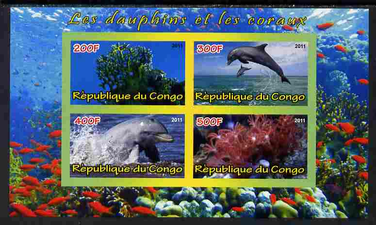Congo 2011 Dolphins & Coral #3 imperf sheetlet containing 4 values unmounted mint