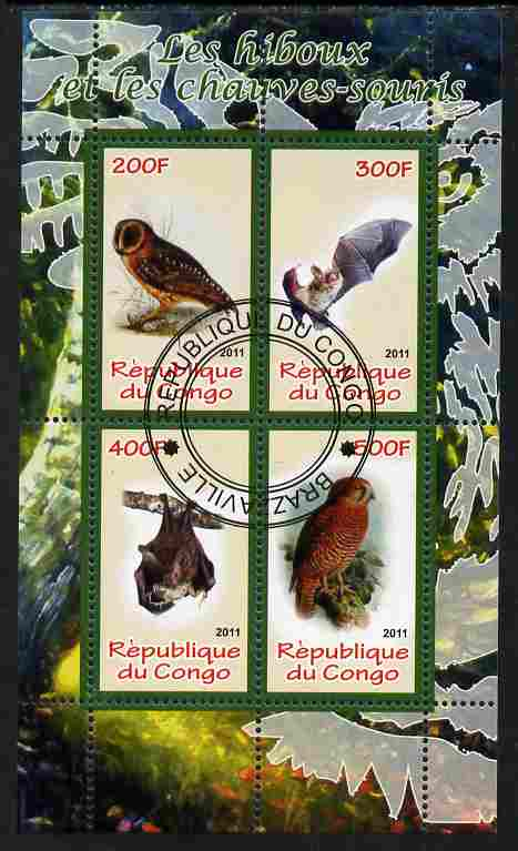 Congo 2011 Owls & Bats #1 perf sheetlet containing 4 values cto used