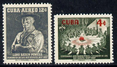 Cuba 1957 Birth Centenary of Lord Baden Powell set of 2 unmounted mint, SG 803-04*