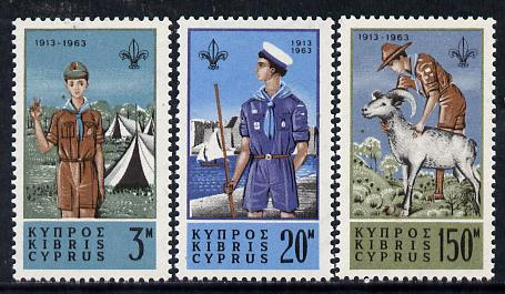 Cyprus 1963 50th Anniversary of Scout Movement set of 3 unmounted mint, SG 229-31*