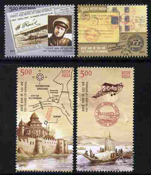 India 2011 100 Years of Airmail perf set of 4 unmounted mint