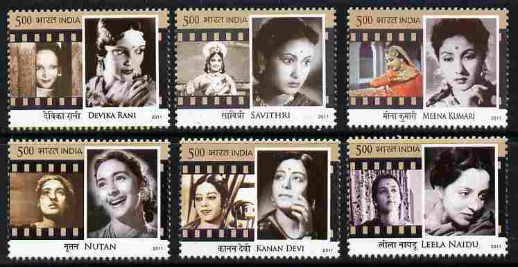 India 2011 Legendary Heroines of India perf set of 6 unmounted mint