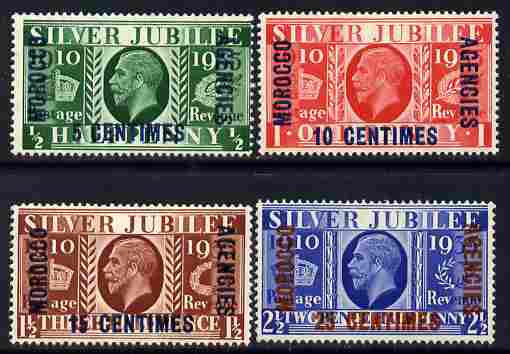 Morocco Agencies - French Currency 1935 KG5 Silver Jubilee set of 4 mounted mint SG 212-15