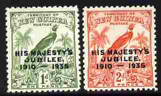 New Guinea 1935 KG5 Silver Jubilee set of 2 mounted mint SG 206-7, stamps on silver jubilee, stamps on  kg5 , stamps on bird of paradise