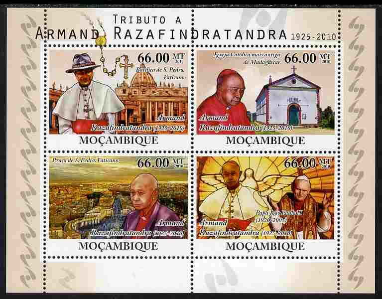 Mozambique 2010 Tribute to Armand Razafindratandra (priest) perf sheetlet containing 4 values unmounted mint