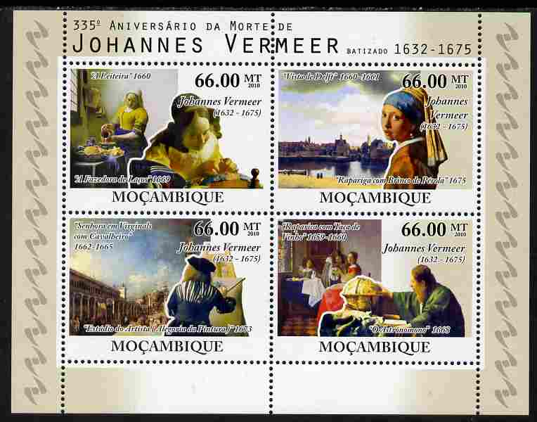 Mozambique 2010  335th Death Anniversary of Johannes Vermeer perf sheetlet containing 4 values unmounted mint