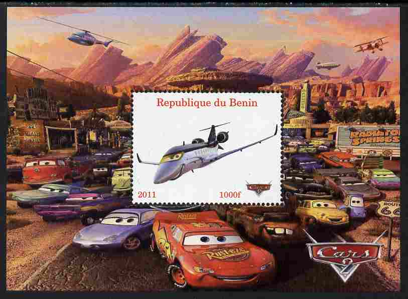 Benin 2011 Cars 2 perf m/sheet #1 unmounted mint. Note this item is privately produced and is offered purely on its thematic appeal