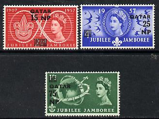 Qatar 1957 Great Britain World Scout Jamboree opt set of 3 unmounted mint, SG 16-18