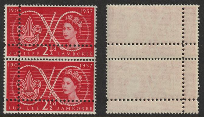 Great Britain 1957 World Scout Jamboree 2.5d unmounted mint vertical pair with perforations doubled (stamps are quartered). Note: the stamps are genuine but the additional perfs are a slightly different gauge identifying it to be a forgery., stamps on scouts, stamps on forgery, stamps on forgeries