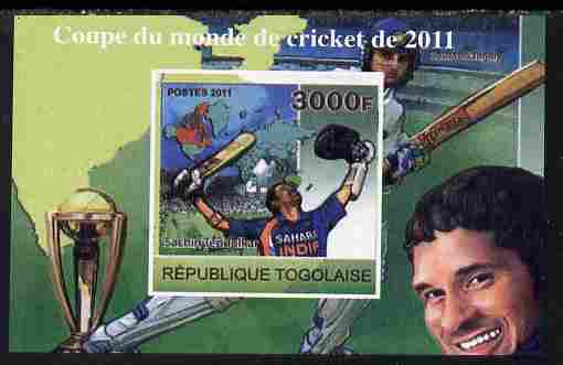 Togo 2011 Cricket World Cup imperf souvenir sheet unmounted mint. Note this item is privately produced and is offered purely on its thematic appeal