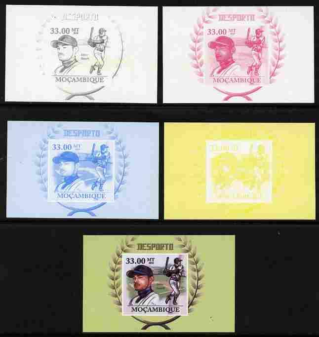 Mozambique 2011 Ichiro Suzuki (baseball) souvenir sheet - the set of 5 imperf progressive proofs comprising the 4 individual colours plus all 4-colour composite, unmounted mint