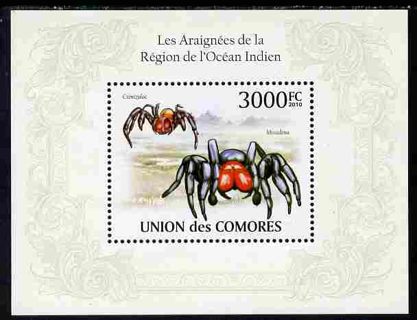 Comoro Islands 2010 Spiders from the Indian Ocean Region perf s/sheet unmounted mint, Michel BL 571