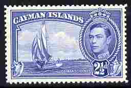 Cayman Islands 1938-48 KG6 Rembro (Schooner) 2.5d blue unmounted mint SG 120