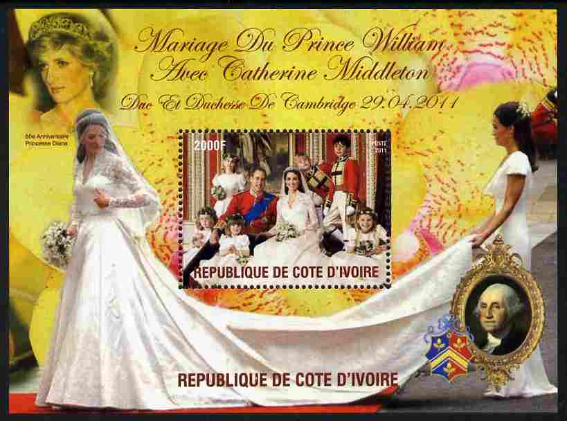 Ivory Coast 2011 Royal Wedding #1 - William & Kate perf m/sheet unmounted mint. Note this item is privately produced and is offered purely on its thematic appeal