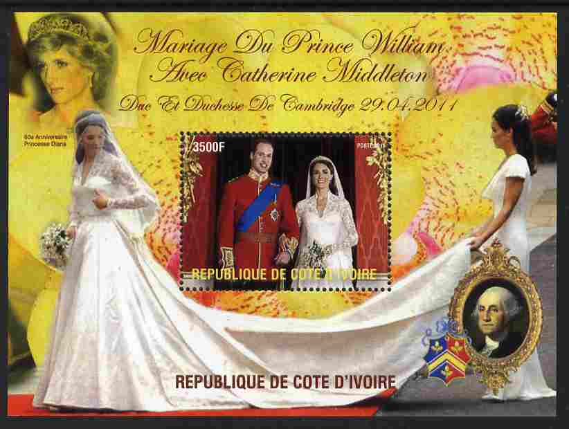Ivory Coast 2011 Royal Wedding #2 - William & Kate perf m/sheet unmounted mint. Note this item is privately produced and is offered purely on its thematic appeal