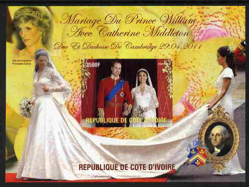 Ivory Coast 2011 Royal Wedding #2 - William & Kate imperf m/sheet unmounted mint. Note this item is privately produced and is offered purely on its thematic appeal, it has no postal validity, stamps on royalty, stamps on william, stamps on kate, stamps on diana, stamps on usa presidents, stamps on washington, stamps on americana