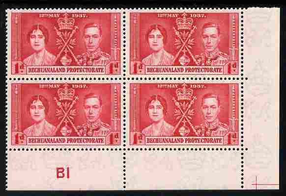 Bechuanaland 1937 KG6 Coronation 1d corner plate block of 4 (plate B1) unmounted mint (Coronation plate blocks are rare) SG 115
