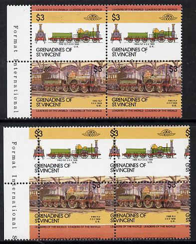St Vincent - Grenadines 1985 Locomotives #3 (Leaders of the World) $3 Fire Fly horiz block of 4 (2 se-tenant pairs) with misplaced perfs (horiz perfs dropped by 4mm and vert perfs shifted 5mm to right) plus normal block (as SG 357a) unmounted mint